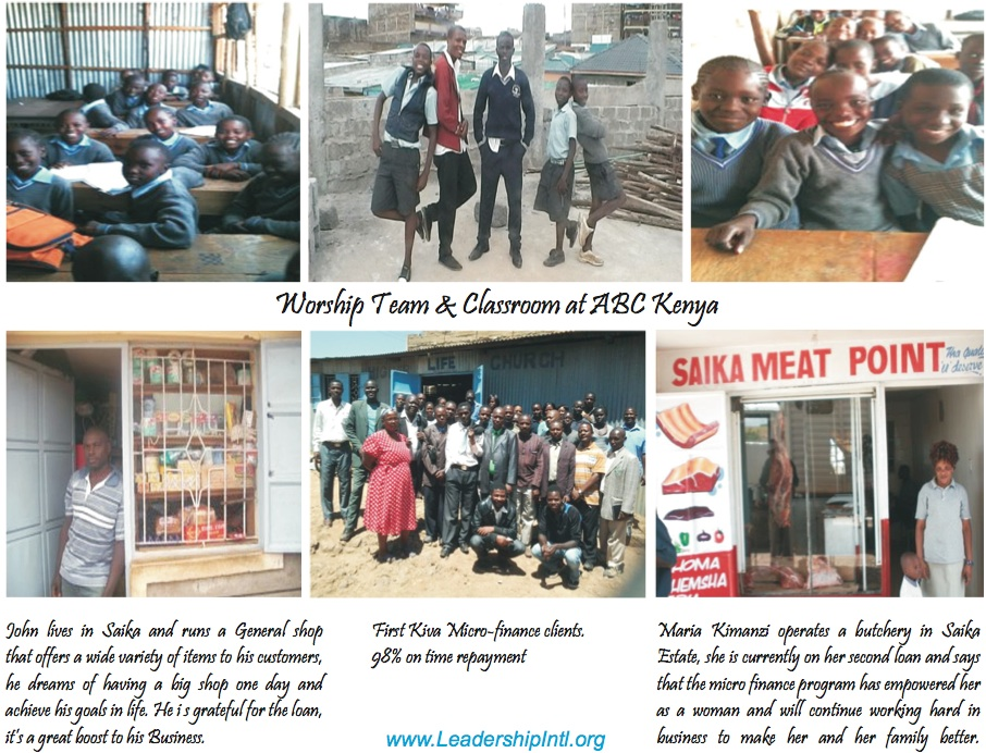 Photos of the worship team and students at ABC Kenya.  Photos of Kiva clients and business owners