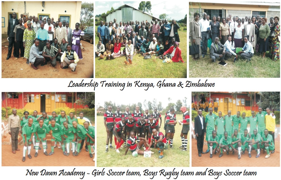 Three photos of leadership training in Kenya, Ghana, and Zimbabwe.  Also, three photos of soccer and rugby teams at New Dawn Academy