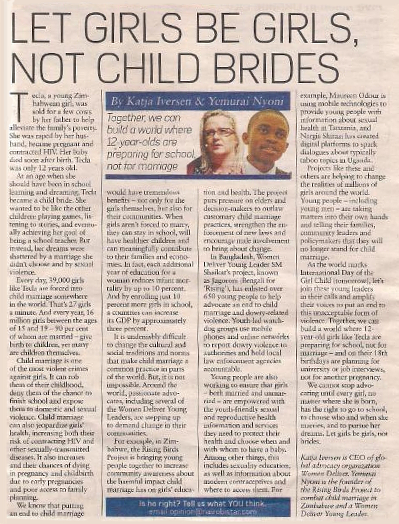 Newspaper article: Let Girls be Girls, not Child Brides.